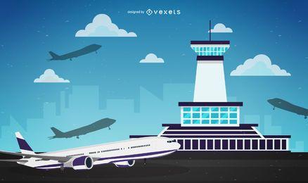 Ilustración de control de tráfico del aeropuerto