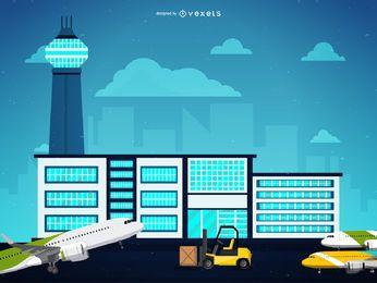 Ilustración de servicio de aeropuerto