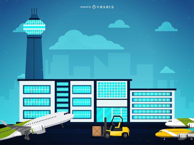 Ilustração de serviço do aeroporto