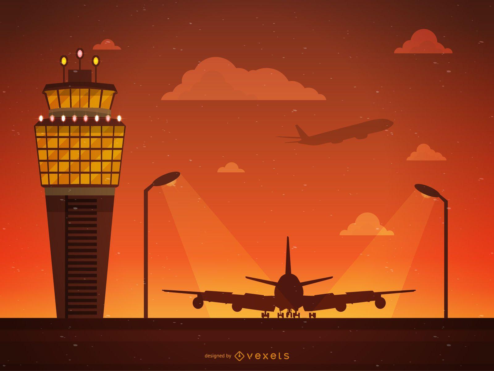 Ilustración de la torre de control del aeropuerto