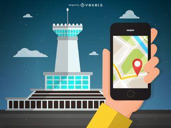 Ilustração de navegação aeroportuária