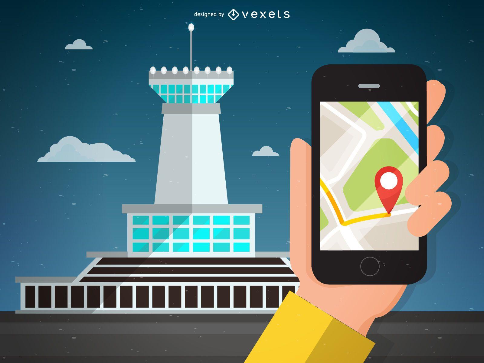 Airport navigation illustration