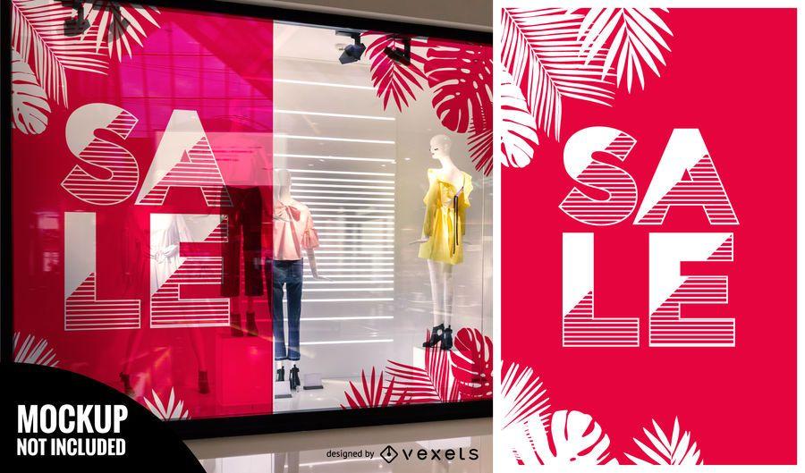 Window shop sale mockup template