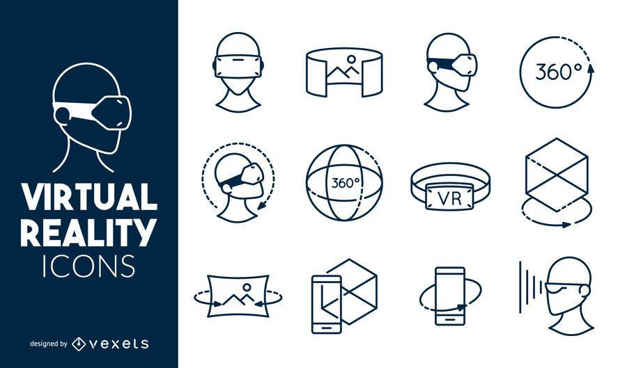 Conjunto de iconos de realidad virtual