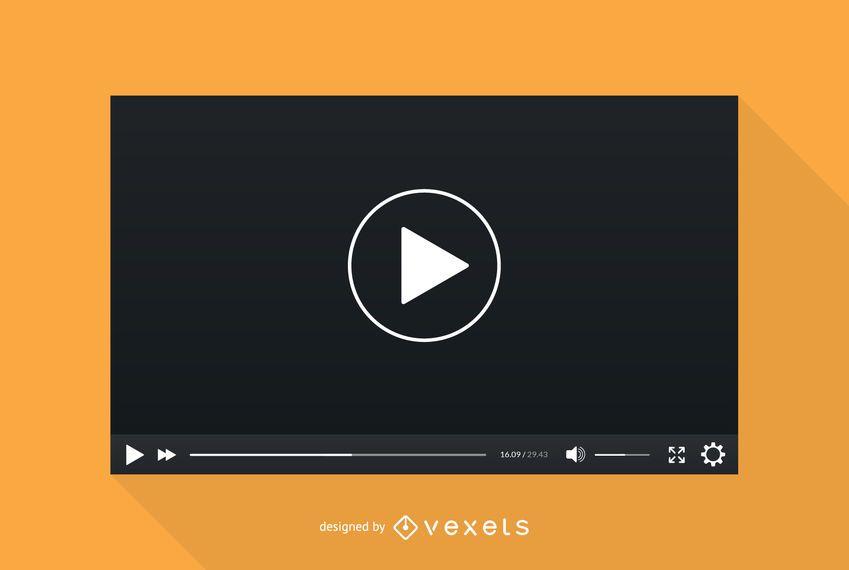 Modelo de tela do player de vídeo