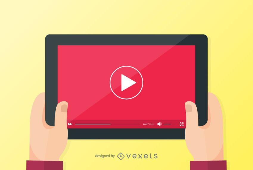 Tela do tablet do player de vídeo