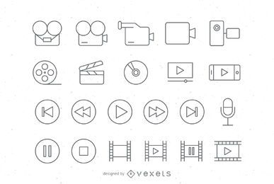 Stroke video icons set
