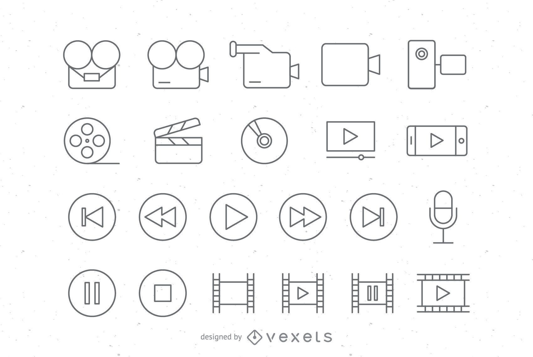 Conjunto de iconos de video de trazo