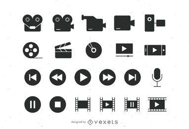 Coleção de ícones de vídeo plano