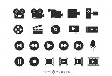 Flache Video-Icons-Sammlung