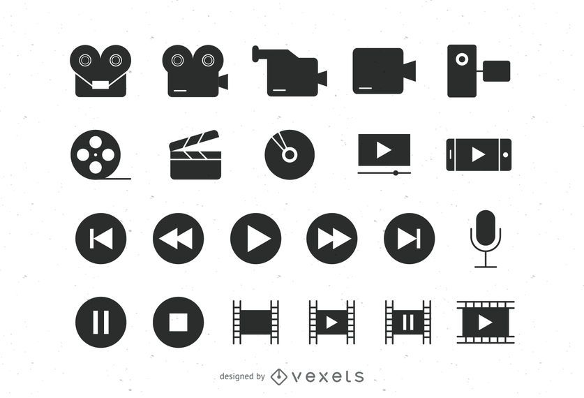 Coleção de ícones de vídeo plana