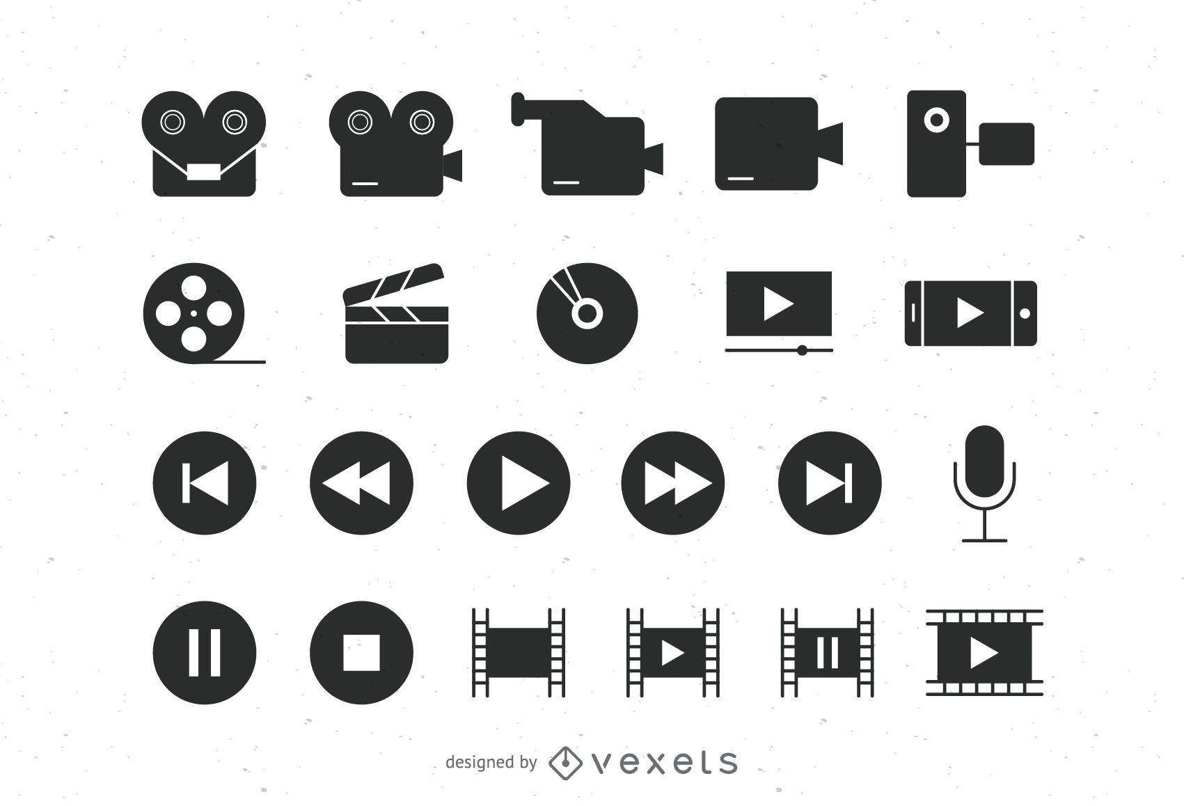 Colección de iconos de video plano