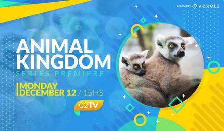 Tela da televisão da premier da mostra animal