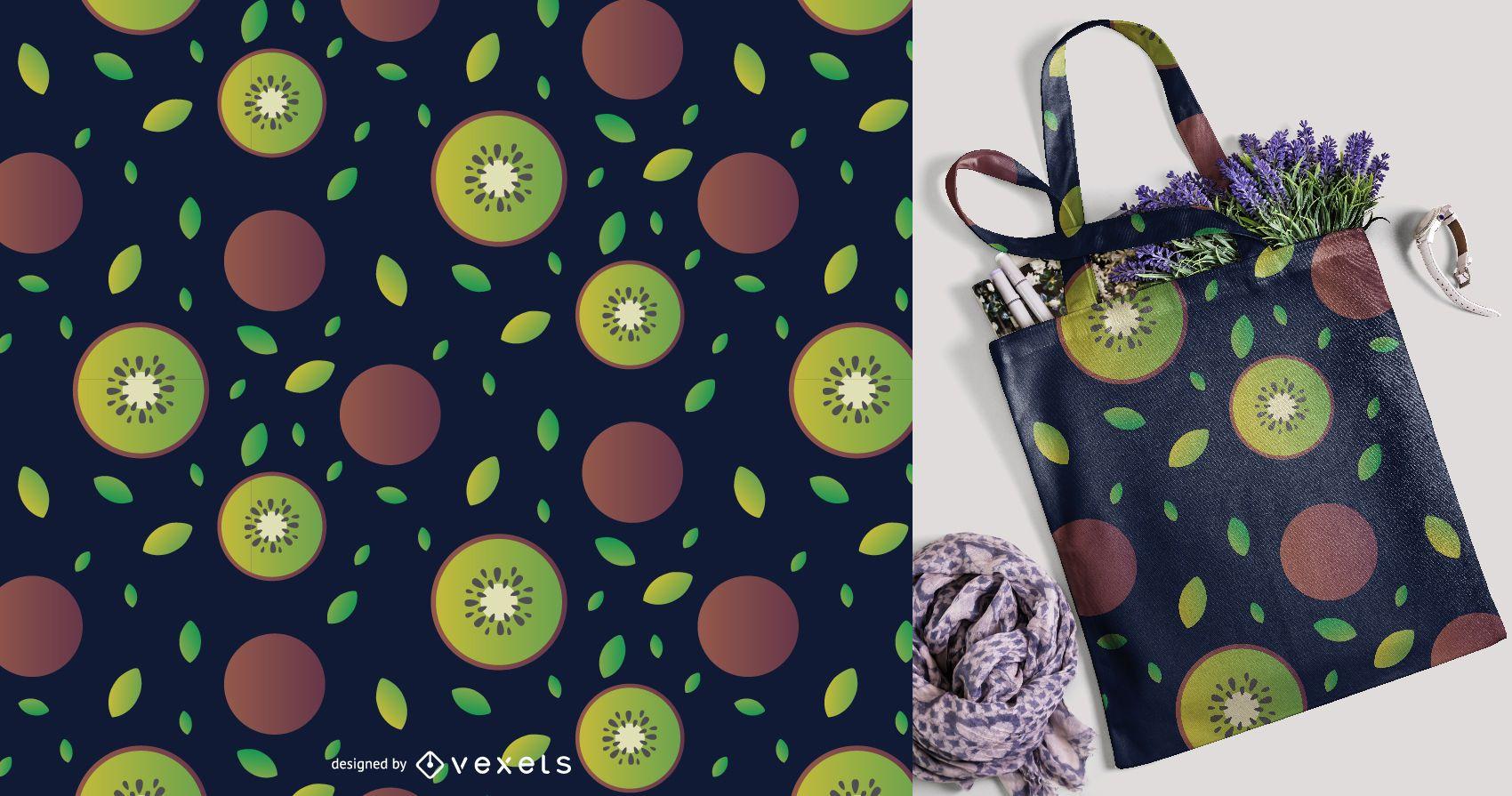 Sliced kiwi fruit pattern