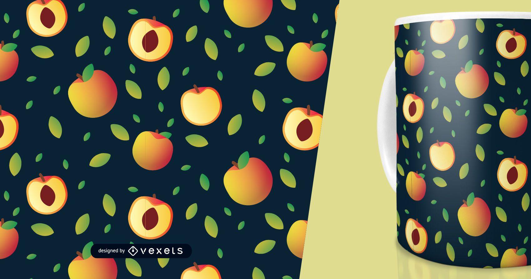 Patrón de rodajas de fruta de durazno