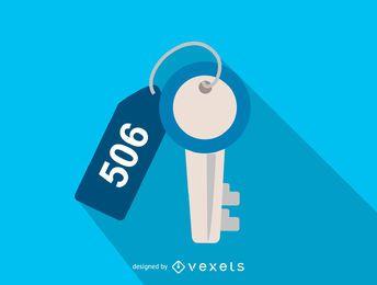 Hotelzimmer-Schlüssel-Symbol mit Tag