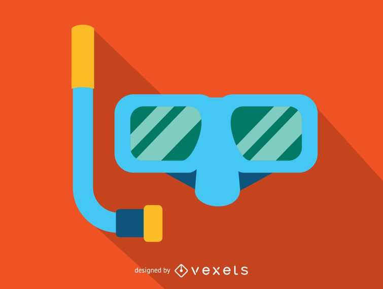 Swimming mask with snorkel icon
