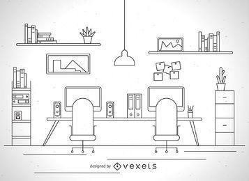 Büroarbeitsplatz-Schlagillustration