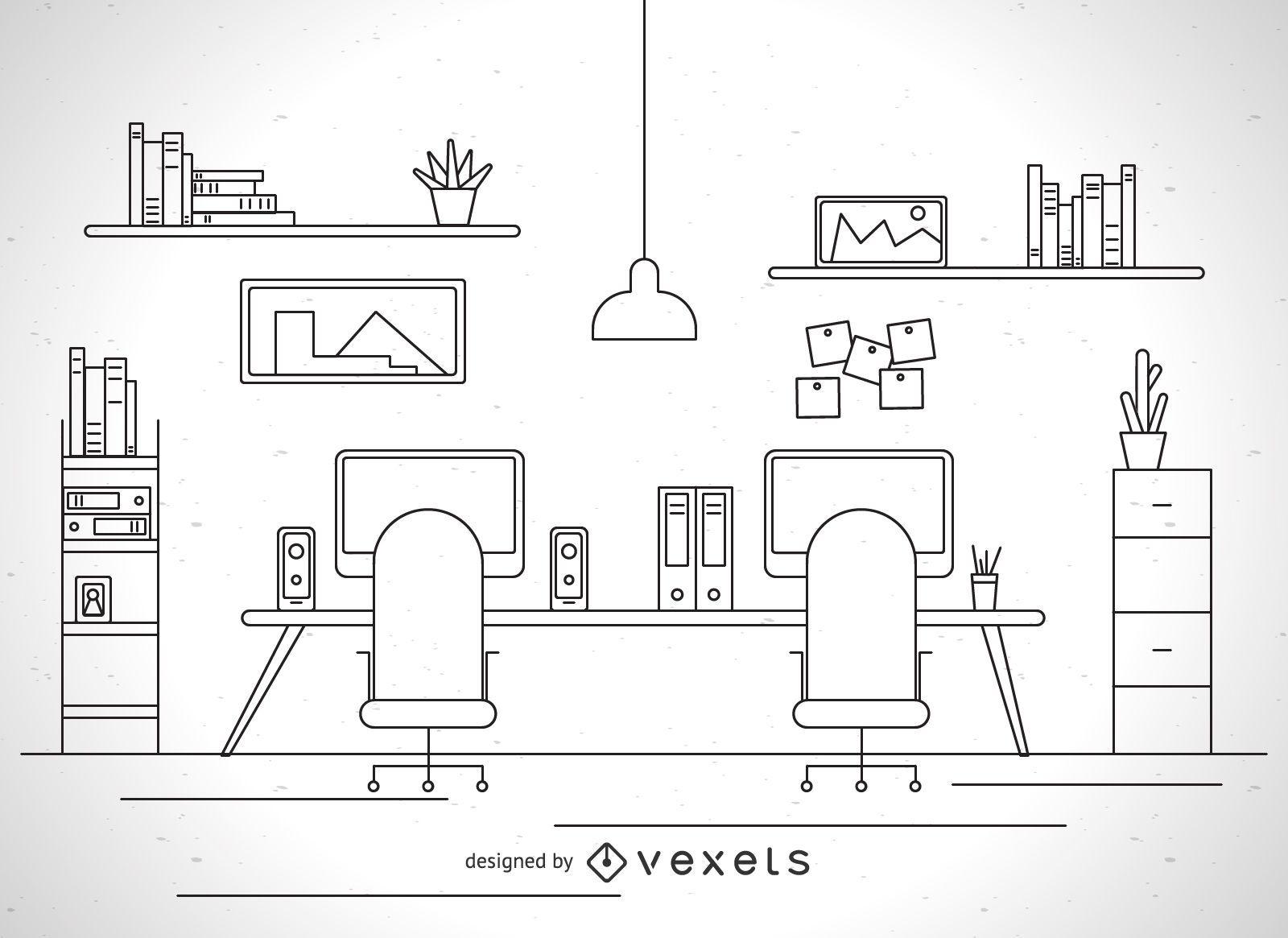 Ilustración de trazo de lugar de trabajo de oficina