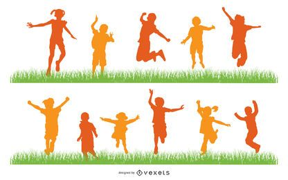 Crianças, pular, silueta, jogo