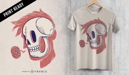 Diseño de camiseta de cabeza de calavera