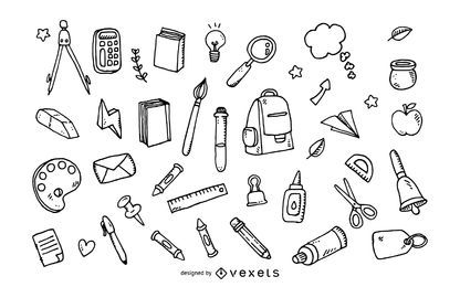 Conjunto de ferramentas de escola doodle