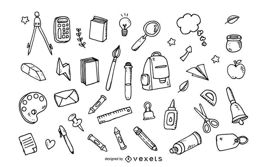 Doodle conjunto de herramientas de la escuela
