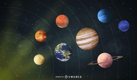 Fundo de espaço de planetas