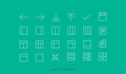 Ícones de interface de linha