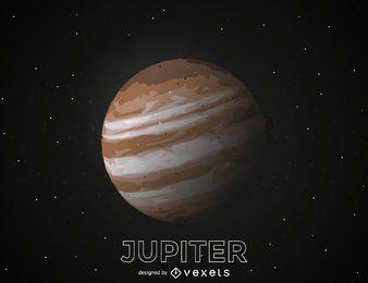 Ilustración de recorte del planeta Júpiter