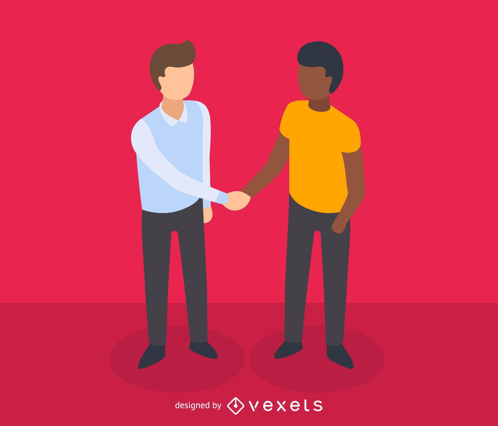 Hombres dándose la mano icono isométrico