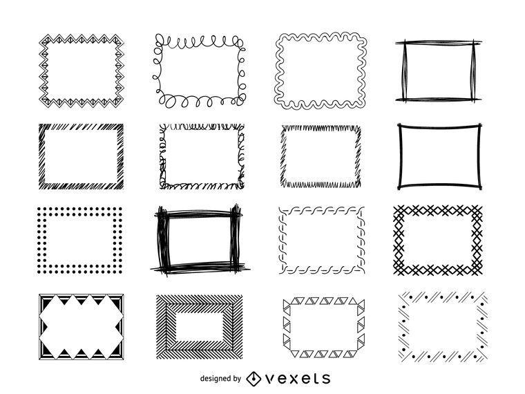 Conjunto de doodle de quadros