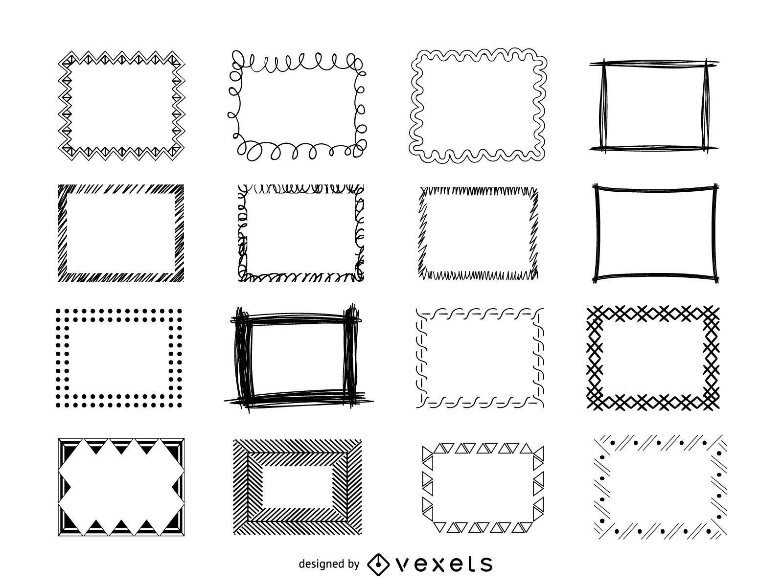 Frames doodle set
