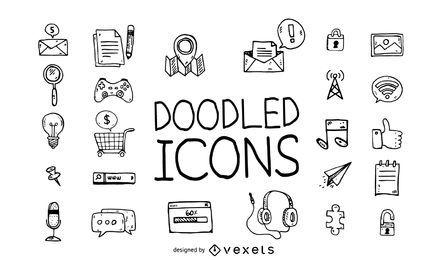 Conjunto de iconos de Doodle