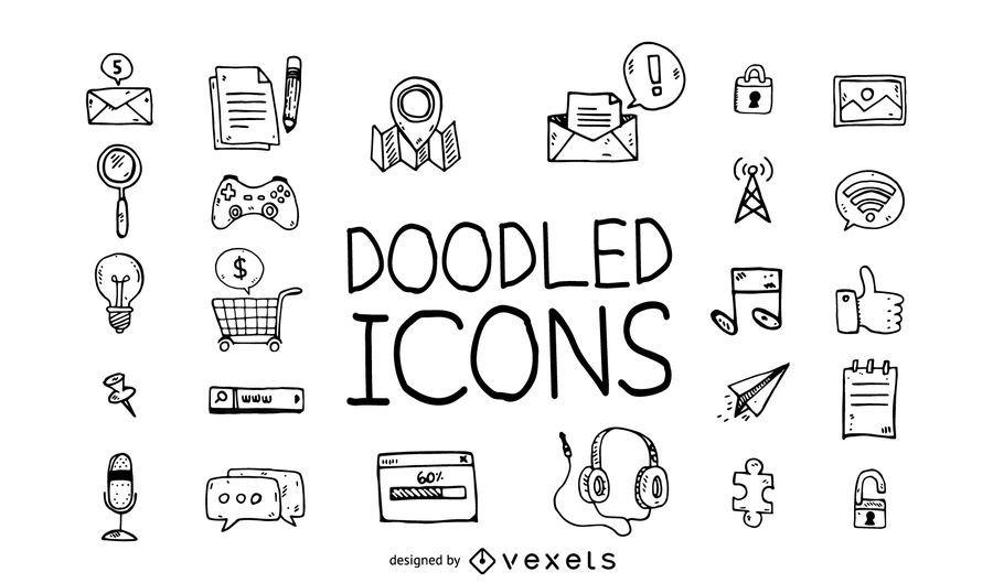 Doodle conjunto de iconos