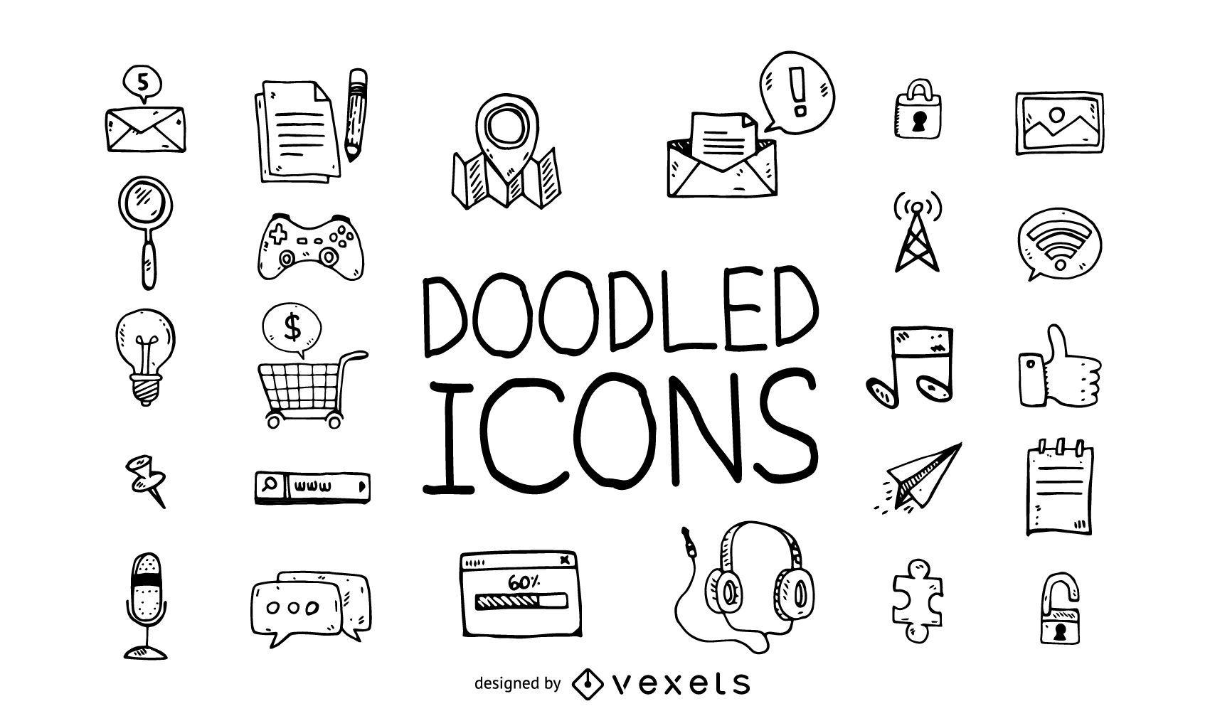 Conjunto de ícones do Doodle