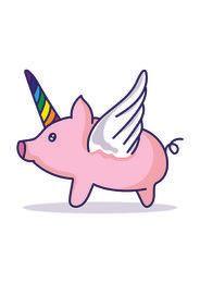 Caricatura de cerdo unicornio