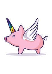 Pig unicorn cartoon
