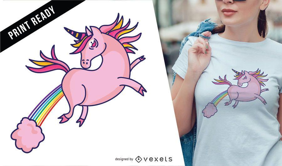 Fliegender T-Shirtentwurf des rosa Einhorns