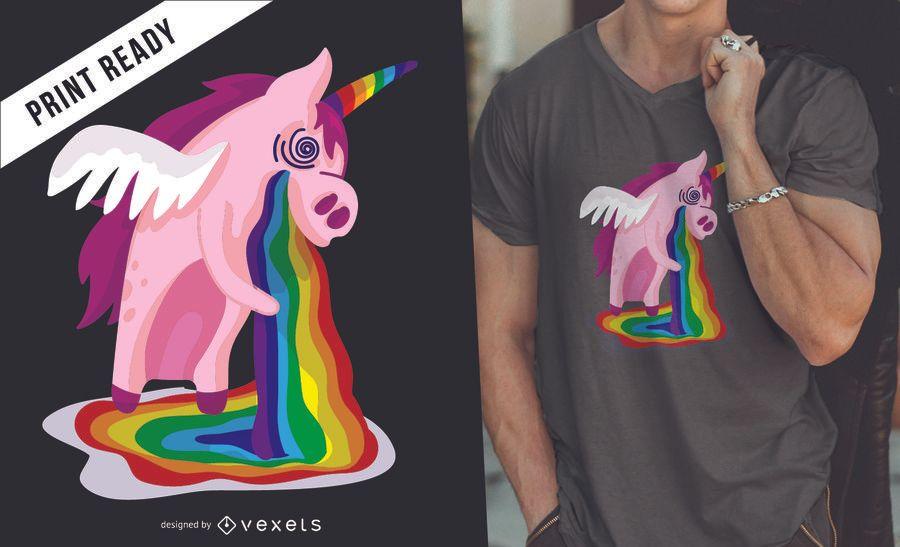Diseño de camiseta unicornio arco iris.