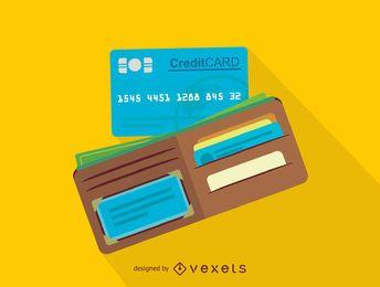Ícone de carteira e cartão de crédito