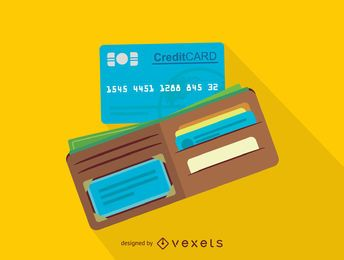 Wallet and credit card icon