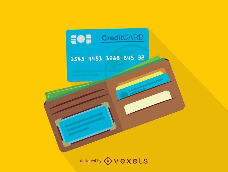 Icono de monedero y tarjeta de crédito.