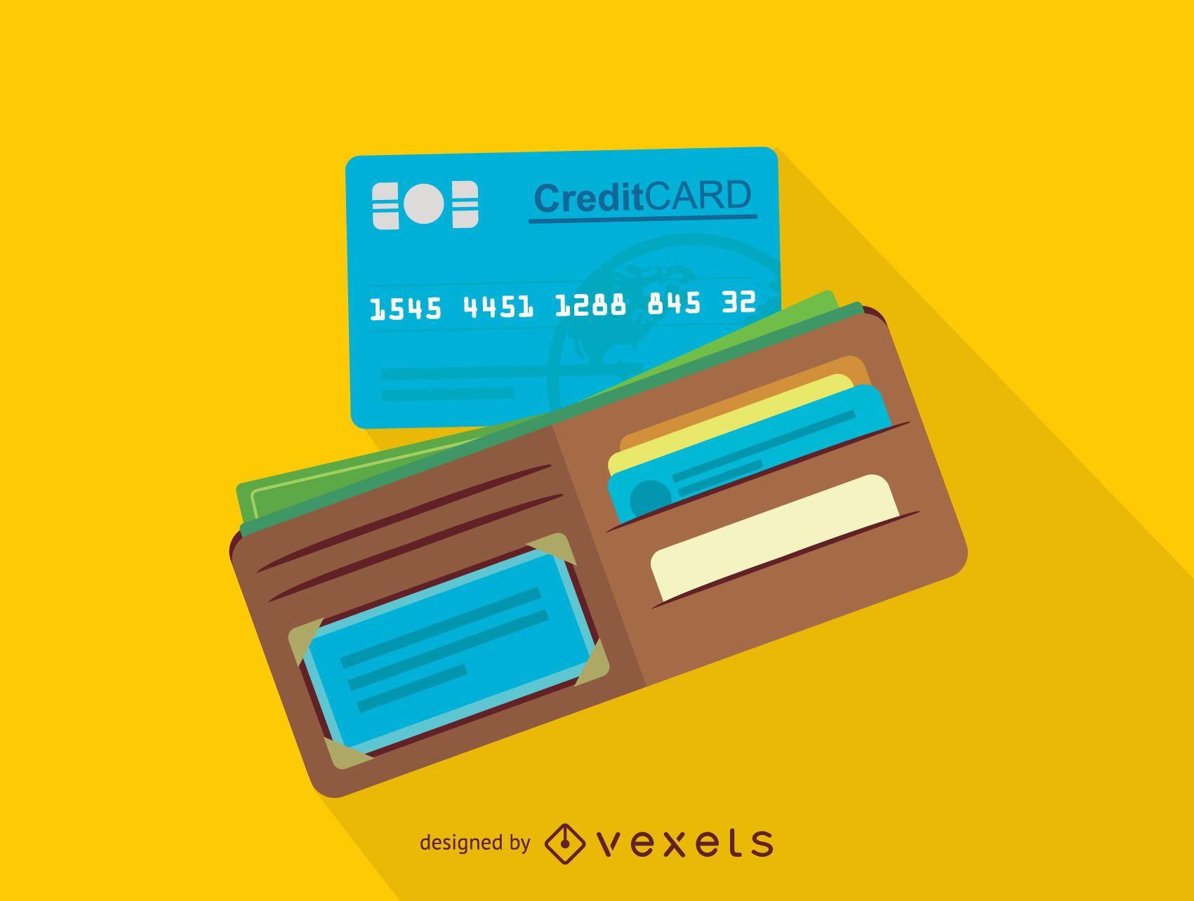 Icono de billetera y tarjeta de crédito