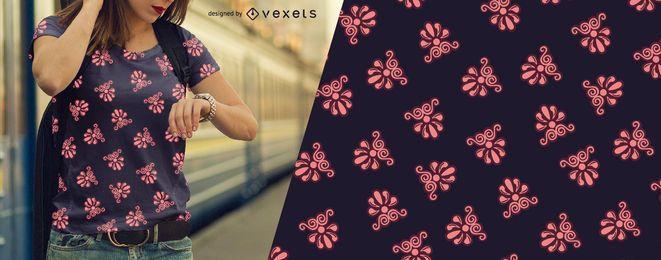 Patrón de adornos florales rosa