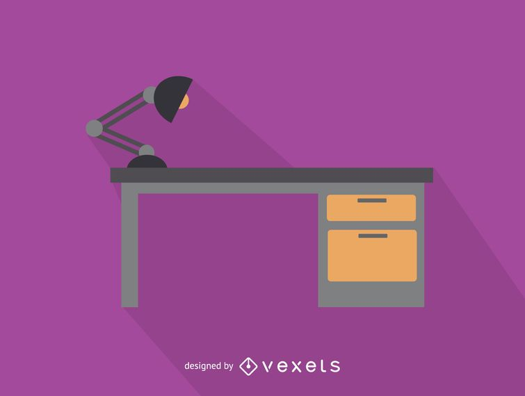 Office desk with lamp icon