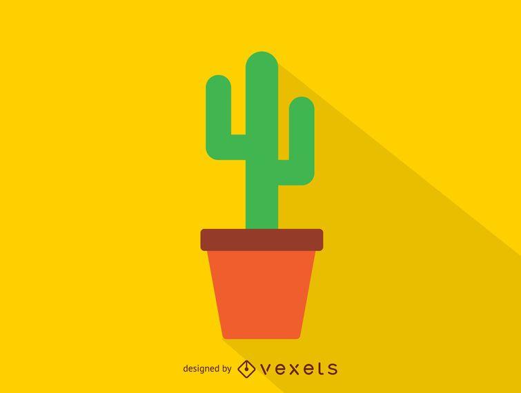 Cactus em um ícone de pote