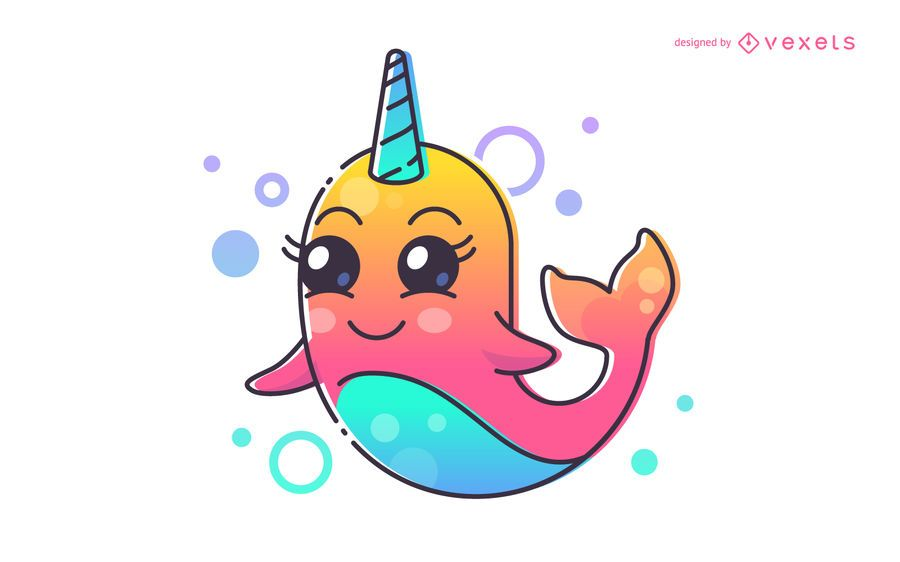 Cute narwhal cartoon