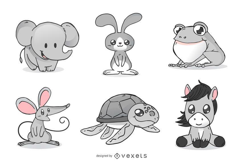 Conjunto de ilustración de dibujos animados de animales lindos