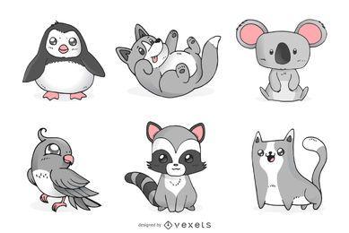 Conjunto de animais fofos monocromáticos